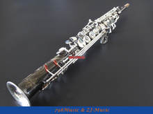 PRO Bb Soprano Saxophone Black Nickel Body,Silver Plated Bell and Keys