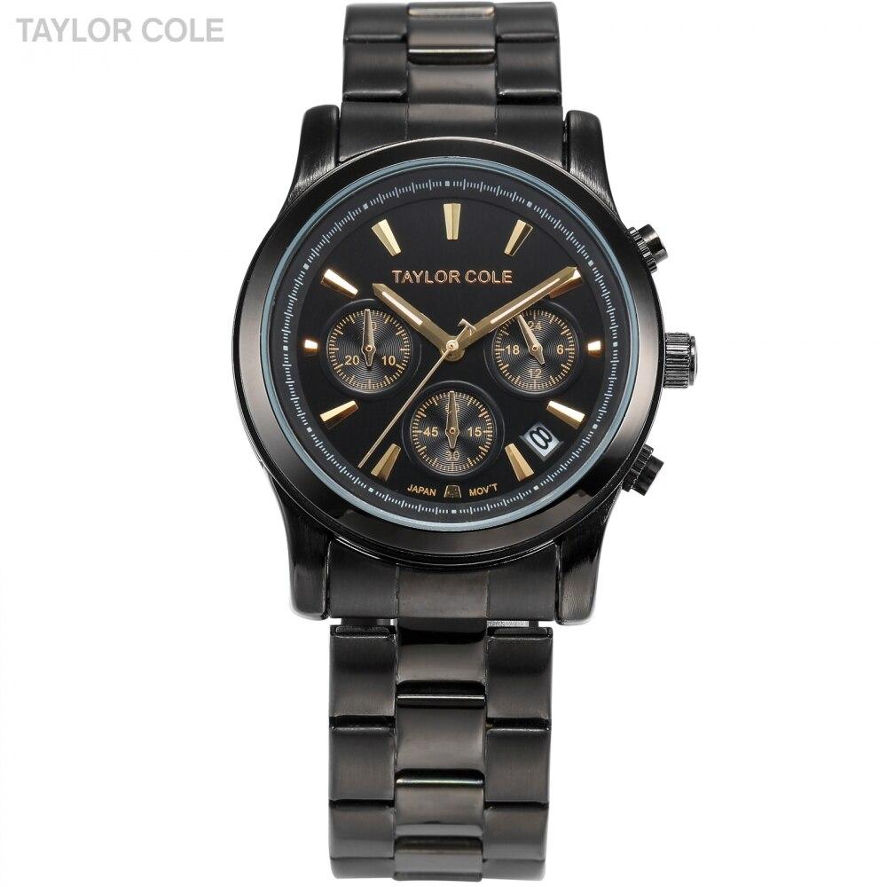 Taylor Cole Black Muse Montre Marque De Luxe Auto Date Chronograph Full Steel Strap Lady Quartz Clock Quartz Watches Gift /TC008