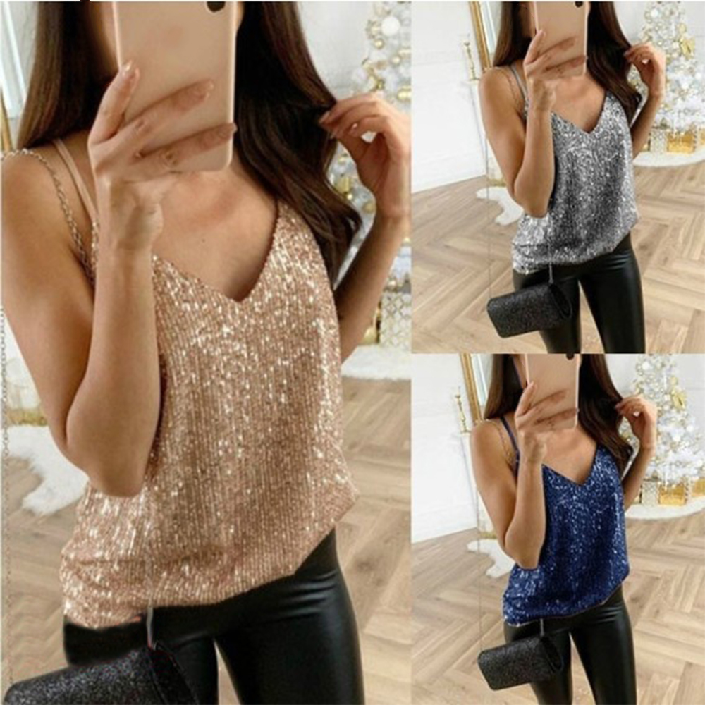 CALOFE Shirt Tops Tank-Top Club Sequined-Patch Camis Women Party Sexy Shiny Femme Summer