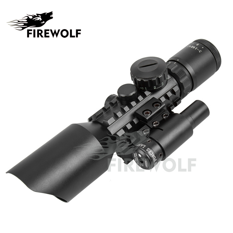M9 3-10x42 Mil-Dot Reticle Red Green Illuminated Sight Rifle Scope With Red Laser for Airsoft Hunting Caza 20mm 11mm Mount Rail 3 10x42 green laser m9a tactical rifle scope red green mil dot reticle with side mounted green laser guaranteed 100%