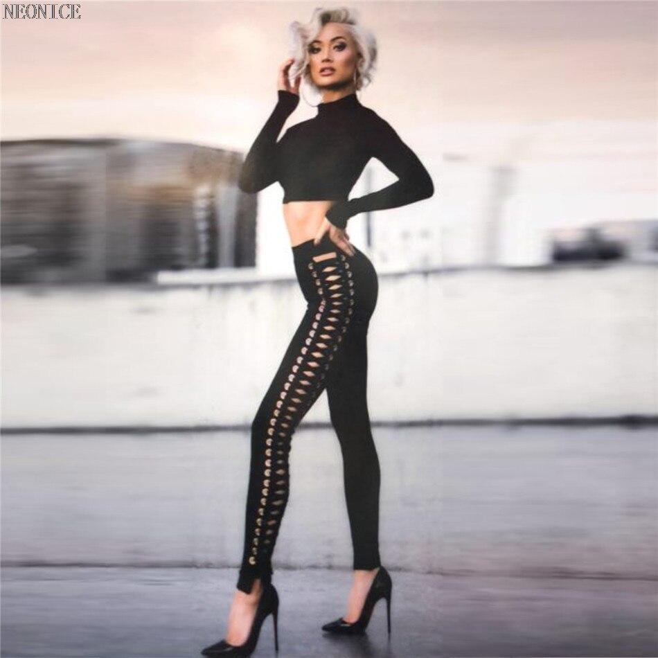 Del Fuori Compleanno Celebrità Nuovo Sexy 2018 Casual Nero Festa Discoteca Sacchetto Modo Stirata Il Pantaloni Donna Dei Dell'anca Scava Di Skinny Pizzo Fasciatura px4PZwq1