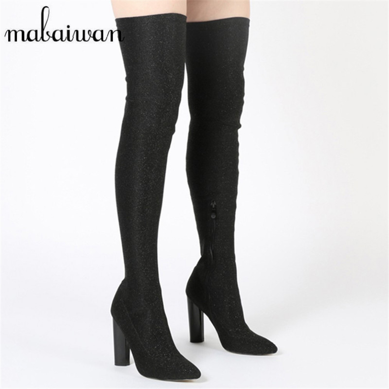 Mabaiwan Black Women Over The Knee Boots Side Zip Elastic Stretch Long Botas Chunky High Heel Thigh High Boots Botines Mujer women over the knee boots black velvet long boots ladies high heel boots sexy winter shoes chunky heel thigh high boots