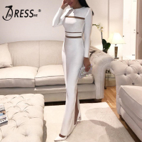 INDRESSME Fashion Full Sleeve O Neck Floor Length Autumn Women Bandage Dress Sexy Hollow Out Split