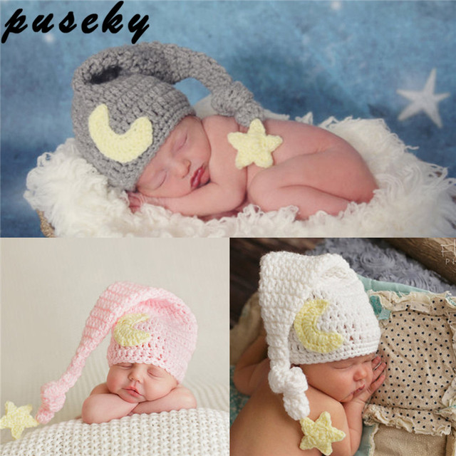675acd294e9 Puseky Cute Newborn Photography Props Baby Knit Long Tail Hats Crochet Warm  Star Moon Cap Photoshoot Picture Prop DIY Baby Album