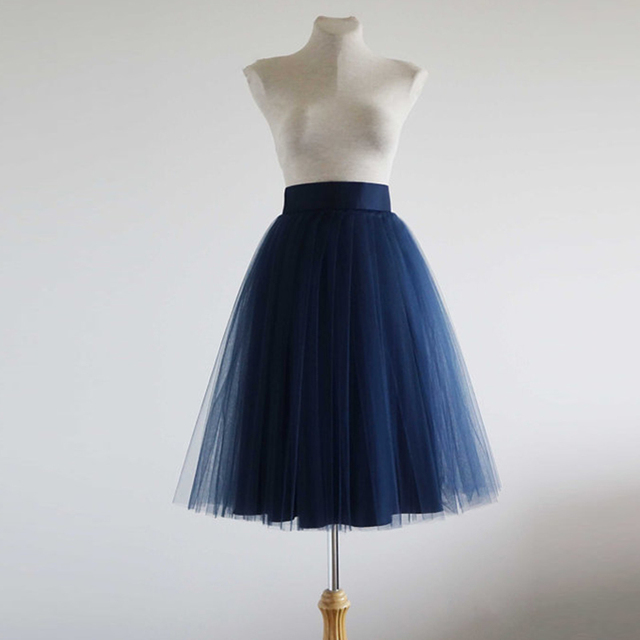 54b8b47f0 Fashion Dark Navy Blue Soft Tulle Skirts 3 Layer Tulle And 1 Lining Satin  Wide Waistband Knee Length Tulle Skirt Women Bottom