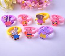 6PCS peppa hair ties rubber band cartoon hair gum scrunchy silicone hair clip hairpin hair accessories for girl kid hairband G20