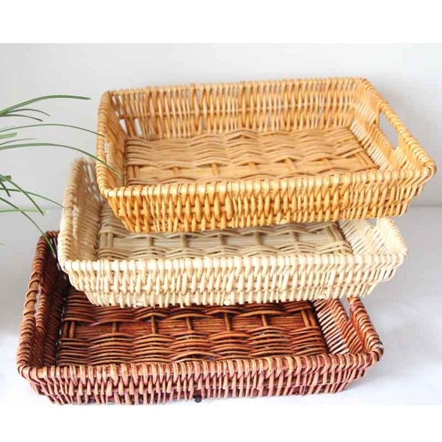 be66dc745ce1 Wicker Food Storage Baskets Handmade Storage Food Bread Box Willow Bread  Bins Woven Straw Basket With Wood Color and Handle