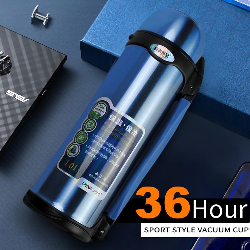PINKAH Vuoto Thermos thermos In Acciaio Inox 0.8L 1L Grande Formato Esterno di Viaggi di Sport Thermos Tazza Tazza Termica Bottiglia