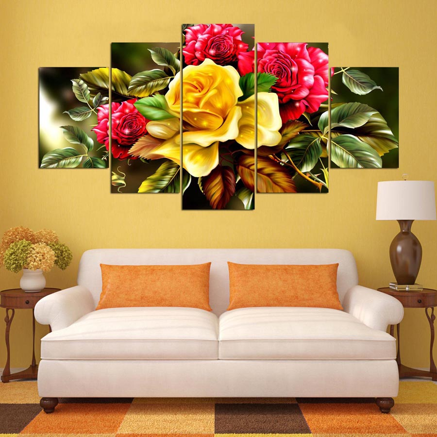 Decor Wall Pictures Modular Canvas Poster Printing 5 Pieces