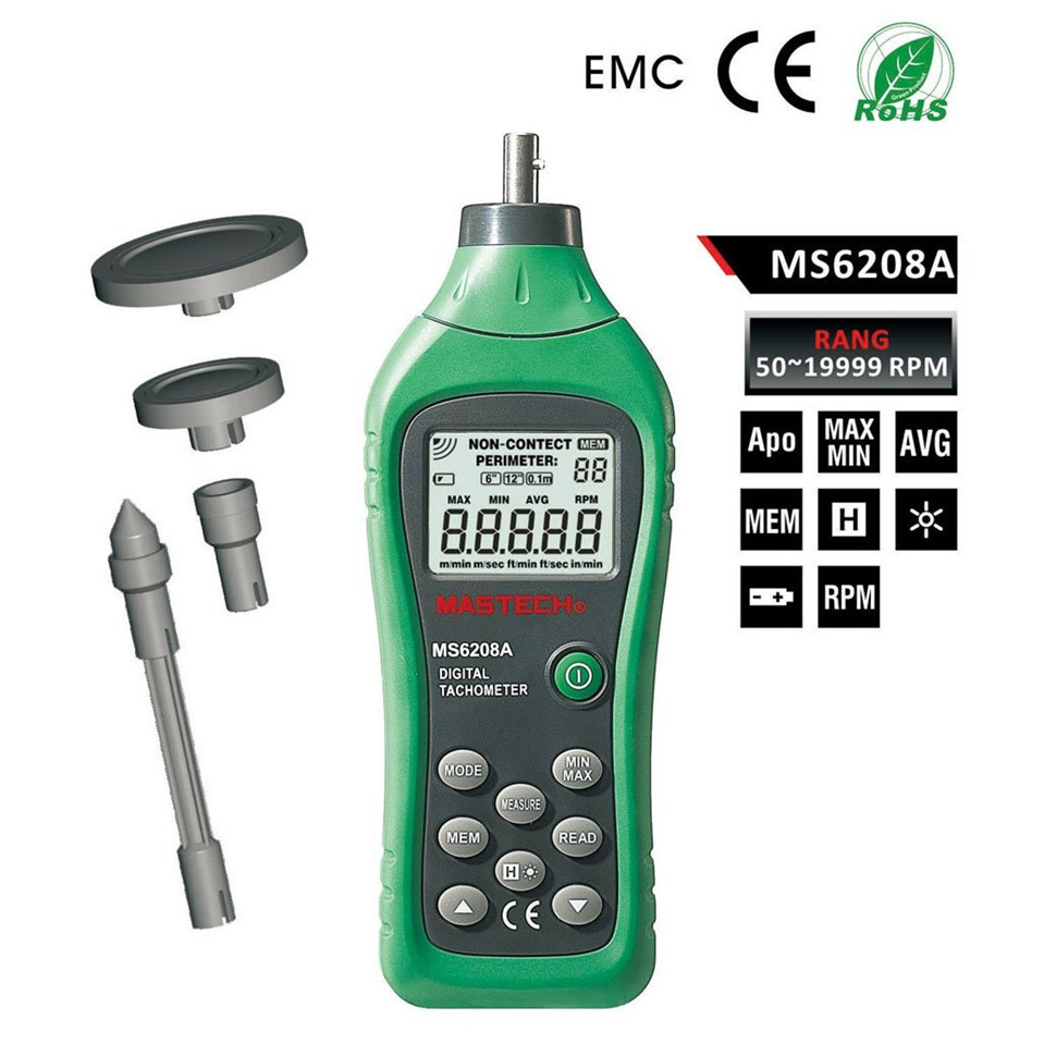 2017 Original MASTECH MS6208A Contact-type Digital Tachometer with Backlit and Rotation Speed of 50-19999RPM Free Shipping [randomtext category=