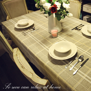 Village European Stlye Popular Table Cloth Linen high quality Table Cloth Cotton and linen Bar Restaurant Table Cover