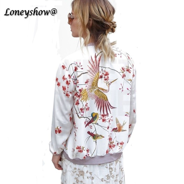 Loneyshow Harajuku Bird Plum Flower Embroidery Jacket New Women Contrast color Floral Bomber Jacket Coat Pilots Outerwear Black