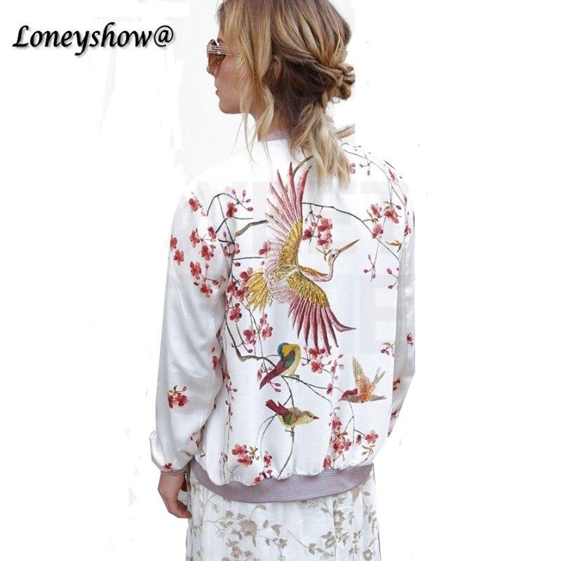 Loneyshow harajuku bird plum flor del bordado chaqueta de las nuevas mujeres de