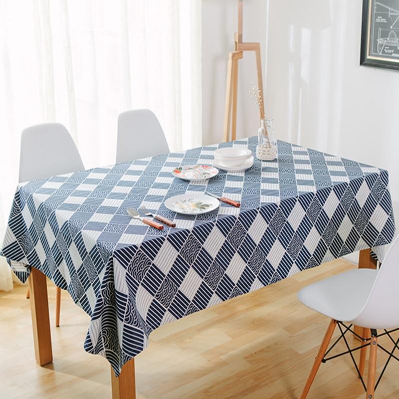 tiszta vászon asztalterítő kávé tea asztalterítő kék kockás - Lakástextil