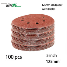 100pcs 125mm Sanding Paper 5 inch red aluminum oxide Sanding Disc with 8 holes Grits 40~3000 available