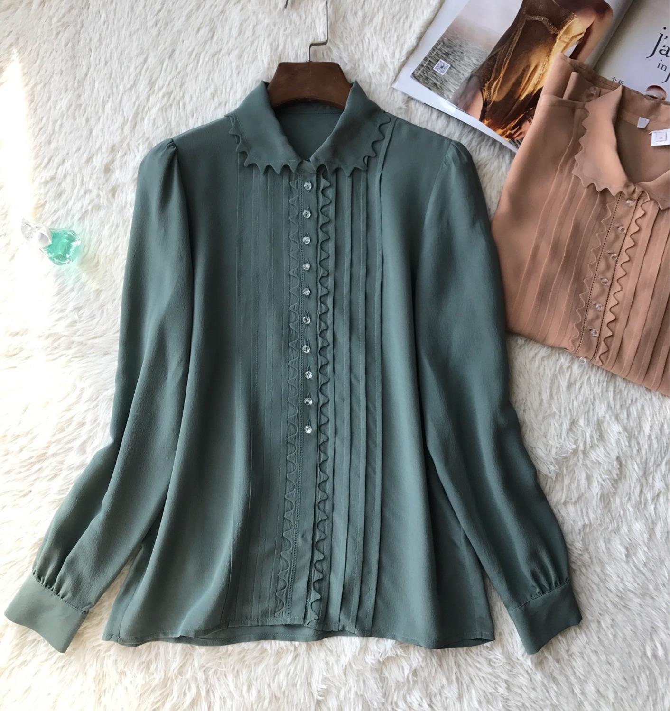 Women Long Sleeve Silk Blouse Crystal Button Crescent Sweet Shirt