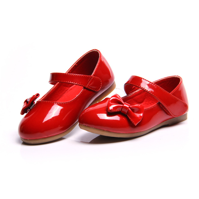 2017 The New Hot Sale Shoes Kids Student Bow Small Mirror Pu flower girls Shoes Children School Shoes