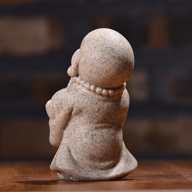 VILEAD 6cm 7cm Cute Little Monk Statue Sandstone Adorable Thailand Buddha Statuettes Lovely Figurine Home Decor Creative Gift 5