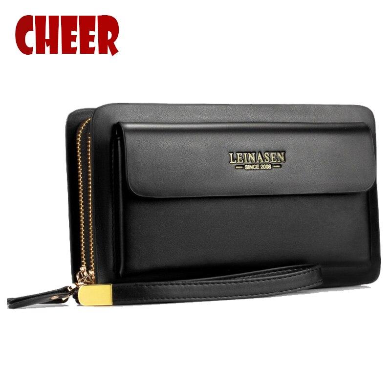 NEW Business wallet Clutch Casual monete tasca pueses lusso portafoglio Doppia cerniera borsa Ad Alta capacità Multifunzione portafogli