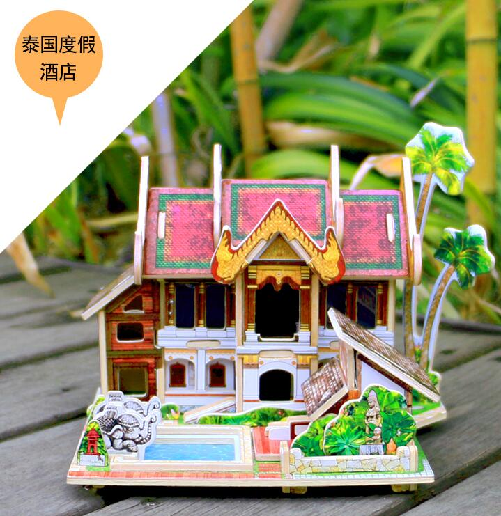 Us 1423 5 Offrobotime Wooden 3d Building Model Toy Gift Puzzle Southeast Asia Style House Home Malaysia Thailand Singapore Bali Island 1pc In