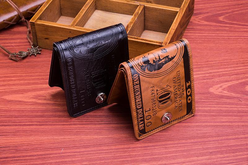 Men Vintage Wallet PU Leather Dollar Pattern Designer Men's Wallets Casual Credit Card Holder Purse Wallet For Male Money Bag (4)