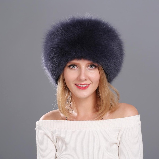 a1a1267e1d707 Natural Fox Fur Cap for Women Beanies Russian Winter Fur Hat with Tail 100% Real  Fox Fur Hat Black White Silver Fox