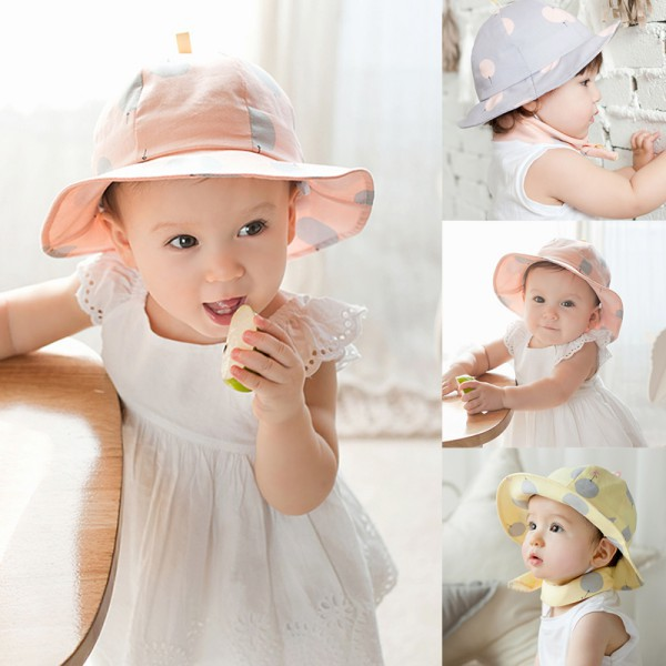 Hats & Caps Accessories 2016 Sweet Children Sun Cap Polka Dot Summer Outdoor Baby Girl Beach Bucket Hat