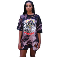Summer Hole Patchwork Print Hole Above Knee Dress 2017 S-XL Natural O Neck Beach Causual Nightclub Loose Women Dress WX006