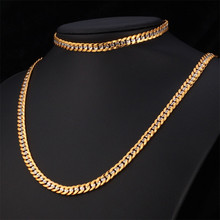 Brand Necklace And Bracelet Set Two Tone Gold Color Hip Hop Cuban Link Chain Jewelry Set For Men Gift S566