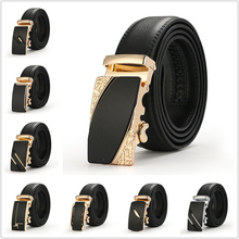 2019 Luxury Men Formal Belts Good Quality Golden Silver Automatic Buckle Leather Popular Belts Male Fashion Pants Jeans Girdle