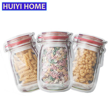 18 pcs Reusable Snack Saver Bag Leakproof Food Sandwich Storage Bags for Travel Kids Mason Jar Zipper EGF326