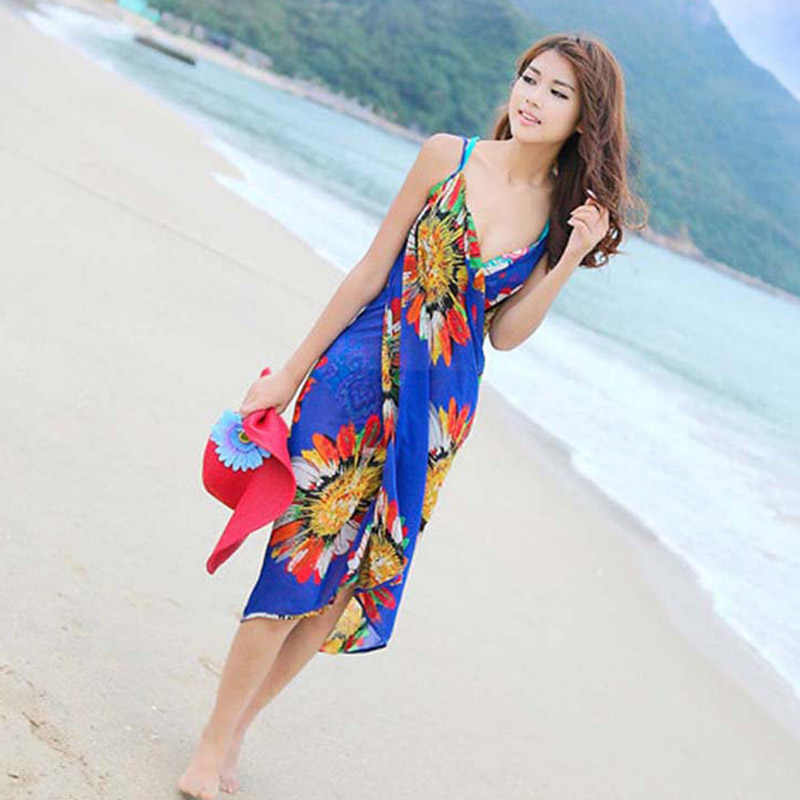 Beach Cover Up Bloemen Backless Bikini Cover Up Dunne Sexy Badmode Vrouwen Robe De Plage Strand Badpak Cover Ups
