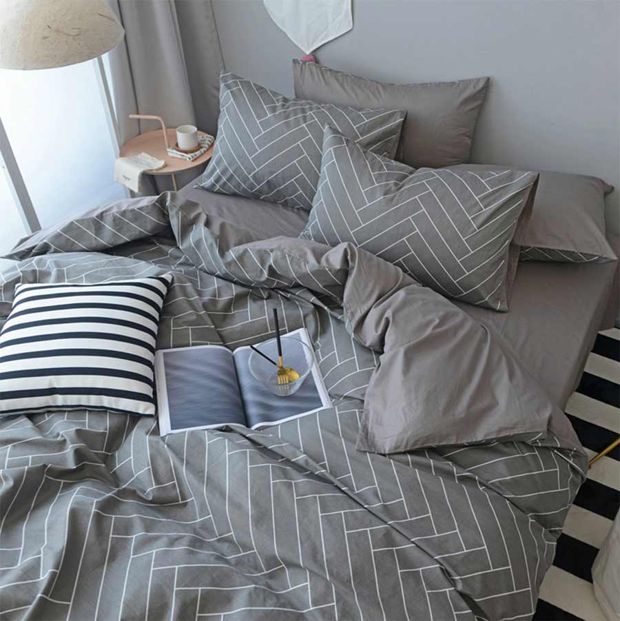Geometric Single Double Bedding Set Teen Kid Boy Man