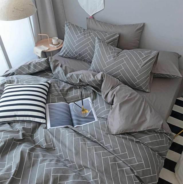 Geometric Single Double Bedding Set Kid Boy Man Cotton Twin Full Queen King Home