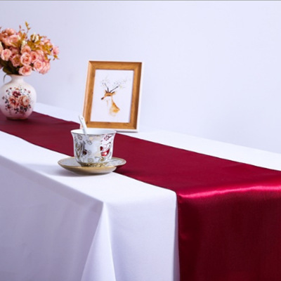 RU033A  Custom Made Wedding Satin Black  White Red Burgundy Royal Blue Silver Grey Green Purple Yellow Blush Pink Table Runner