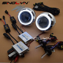 SINOLYN Car Styling 3.0 LED Angel Devil Eyes Car Projector Headlight Lens Bixenon Retrofit Kit 4300K 6000K 8000K H1 H4 H7 9006(China)