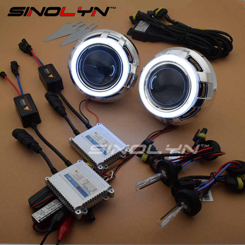 SINOLYN Car Styling 3.0 LED Angel Devil Eyes Car Projector Headlight Lens Bixenon Retrofit Kit 4300K 6000K 8000K H1 H4 H7 9006