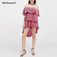 Plaid Dress Women Oversized Pleated Elegant Ruffles Flare Sleeve Loose Casual Sweet Dresses Vestidos Summer Dress
