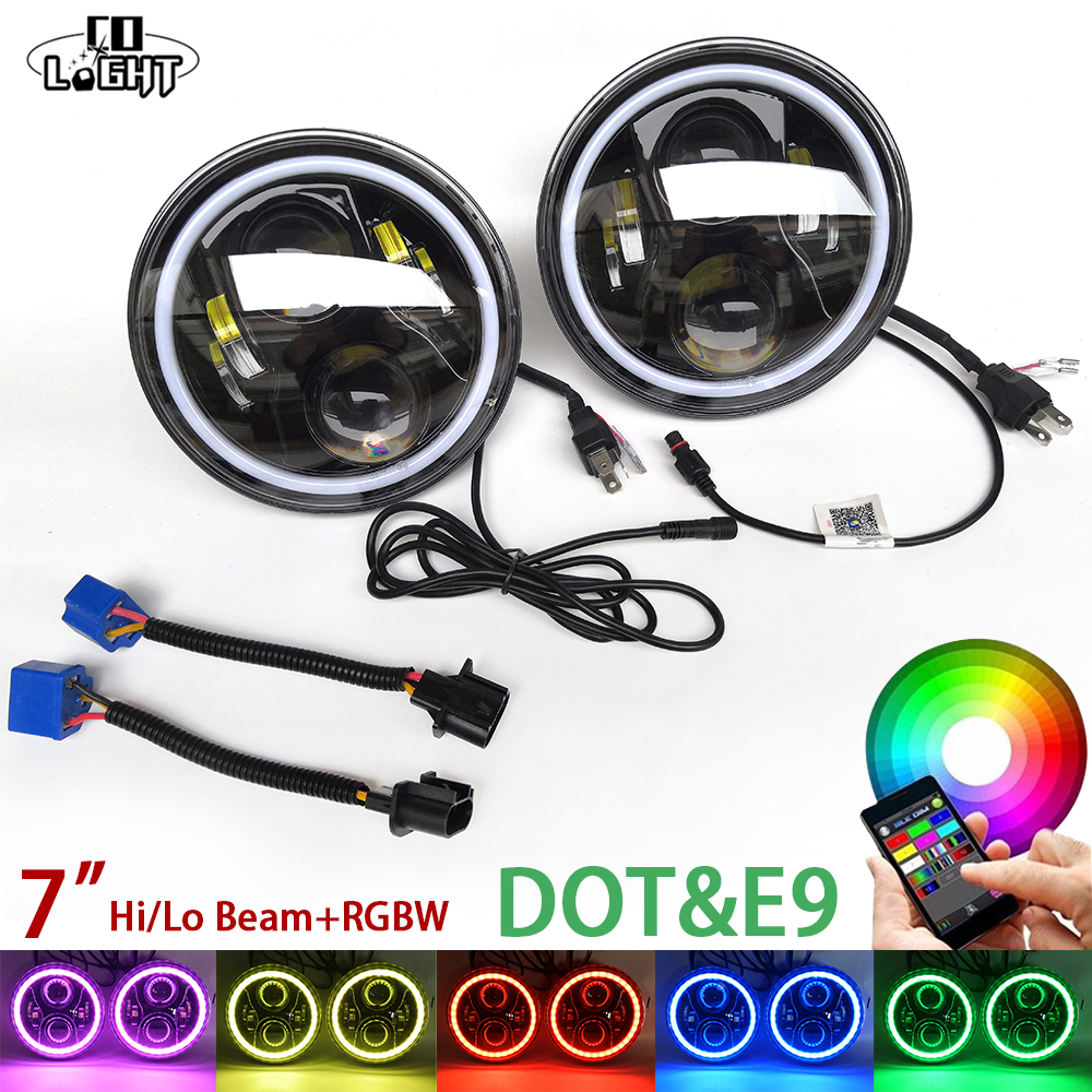 CO LIGHT 2Pcs 7 Inch Rgb Led Car Headlight Angelic Eyes Round High Low for Jeep VW Beetle Lada Niva 50W Daytime Running Lights 7 inch round led headlight 12v eyes lights led high low headlight 7 inch