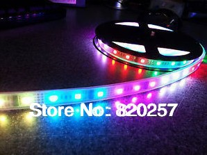 5 M/16.4 pieds WS2801 ampoules LED 32 WS2801 IC LED bande flexible numérique + 32 pièces 5050 RGB, entrée DC5V, IP67, PCB blanc
