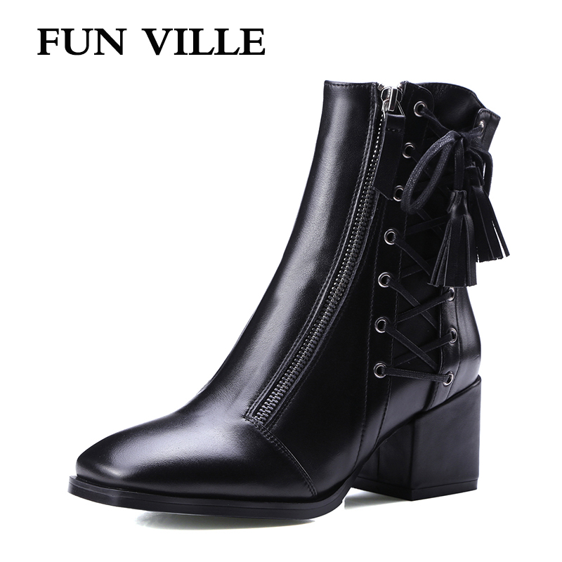 FUN VILLE 2017 New Fashion Autumn winter Women Ankle Boots Genuine leather Hign Heel black Sexy shoes for woman Square Toe  2017 new fashion lace up women boots genuine leather square heel black autumn winter sexy brand ladies ankle boots women shoes
