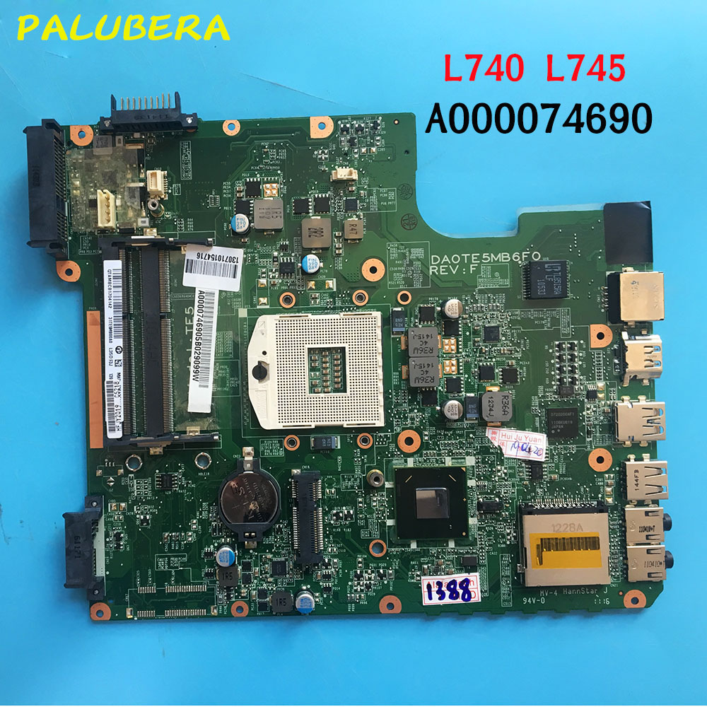 PALUBEIRA Laptop Motherboard for Toshiba Satellite L745 L740 Mainboard A000074690 DA0TE5MB6F0 HM65 100 tested ok