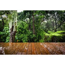 Tropical Rainy Forest Green Shrub Wooden Floor Baby Portrait Scenic Photography Backdrop Photo Background Photocall Photo Studio стоимость