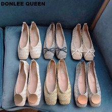 DONLEE QUEEN Women Flat Ballet Shoes Fashion Cane Woven Summer Square Toe Shallow Ballerina Soft Moccasin zapatos de mujer