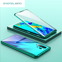 Magnetic Metal 360 Glass Case for Huawei P30 P20 Mate 20 Honor Pro Lite V20 20i Front Back Double Full Protector Cover