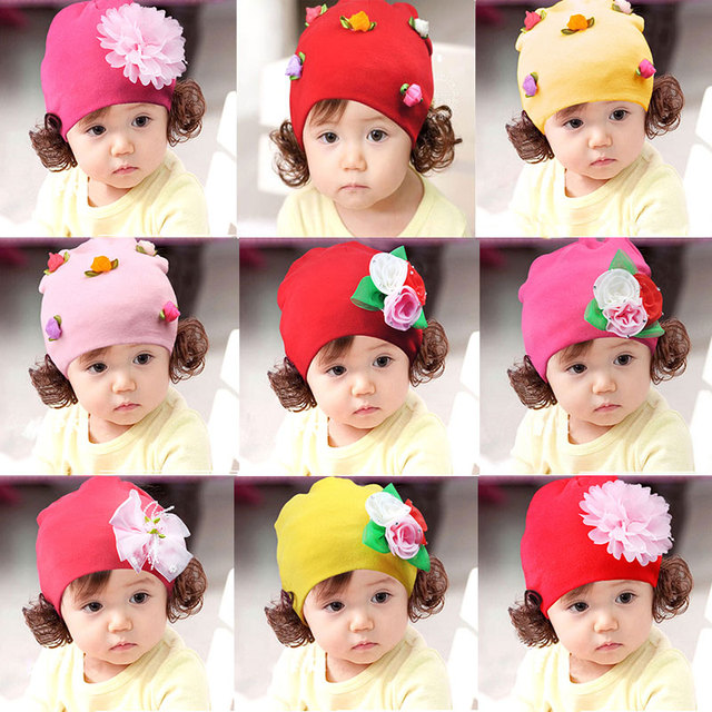 5dfca4247 US $10.75 |Hot Baby Princess Girl Hat Cap Fashion Infant Cute Baby Girls  Spring Autumn Winter Beanie Hats Caps With Wigs Headwear Hair Wear-in Hats  & ...