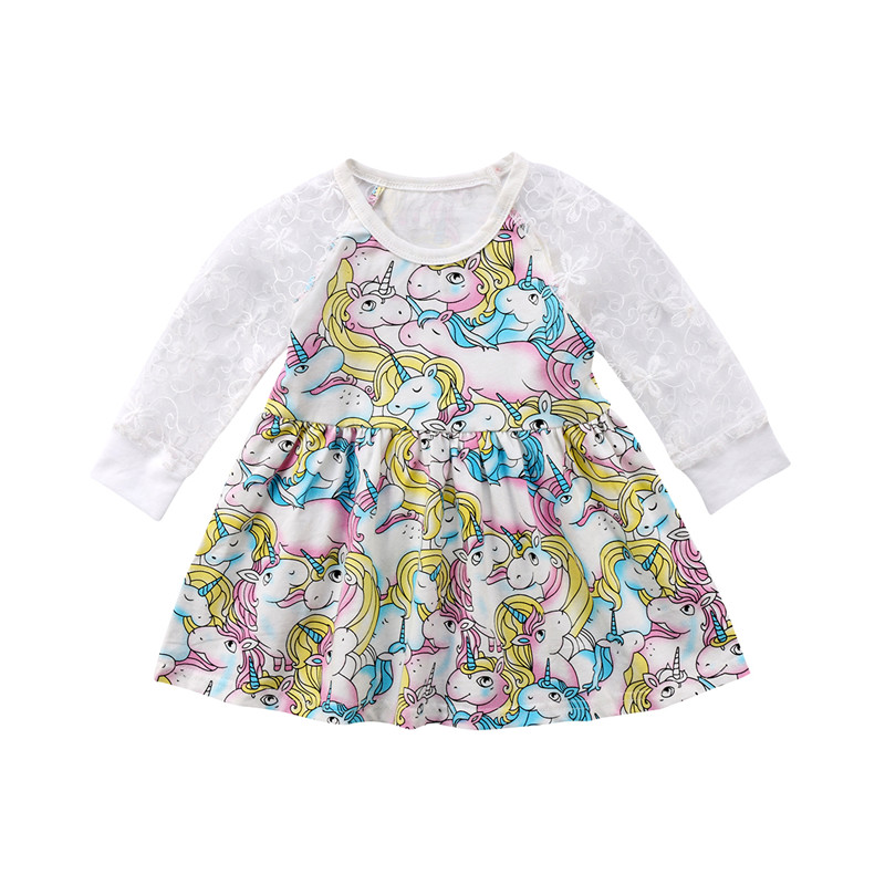 Toddler Kids Baby Girl Clothing Long Sleeve Hollow Out Patchwork Unicorn Floral Dress Party Clothes Summer Sundress Outfit 1-6T