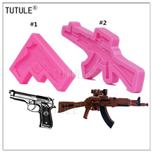 Gadgets-Small Pistol Silicone Mold Food Safe Fondant Chocolate Gun Rifle Cupcake Polymer Clay Mould