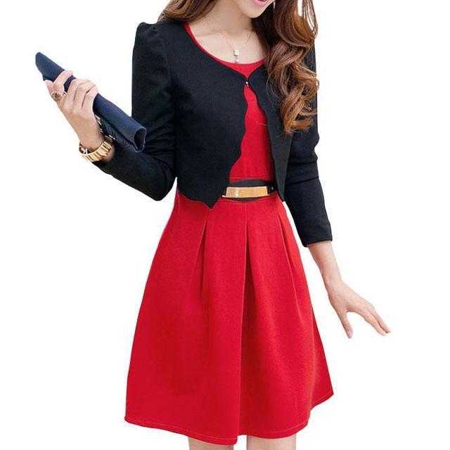 Uniformes Ternos Das Mulheres de Negócios de moda da Longo-Luva Casacos Vestido de Duas Peças Conjunto De Blazer Vestido Feminino