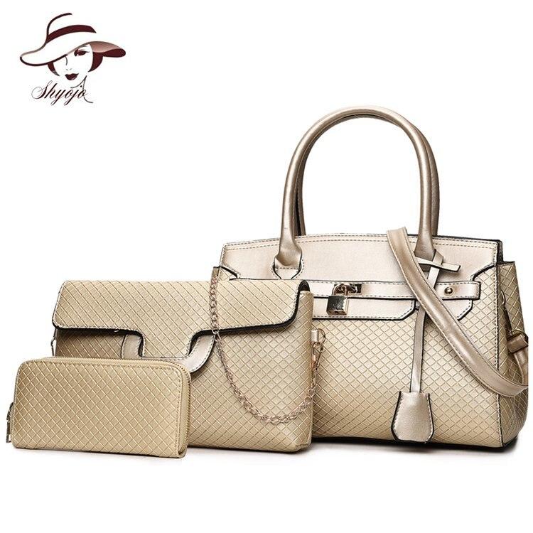 Luxury Classic Women Top-Handle Bag Female Famous Brand Ladies Messenger Bags Handbag Set Composite PU Leather Tote Purse Clutch